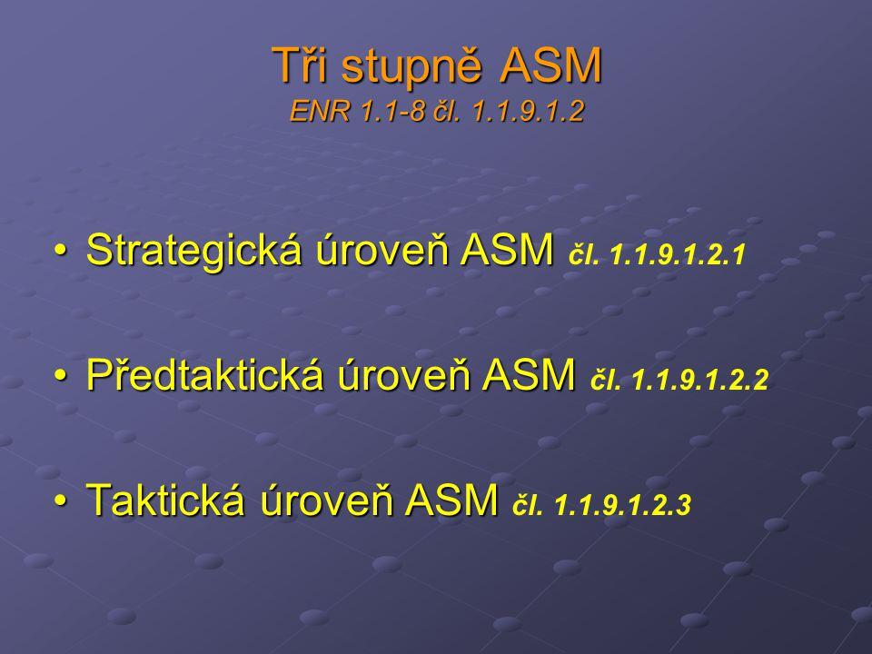 Tři stupně ASM ENR 1.1-8 čl. 1.1.9.1.2 Strategická úroveň ASMStrategická úroveň ASM čl. 1.1.9.1.2.1 Předtaktická úroveň ASMPředtaktická úroveň ASM čl.