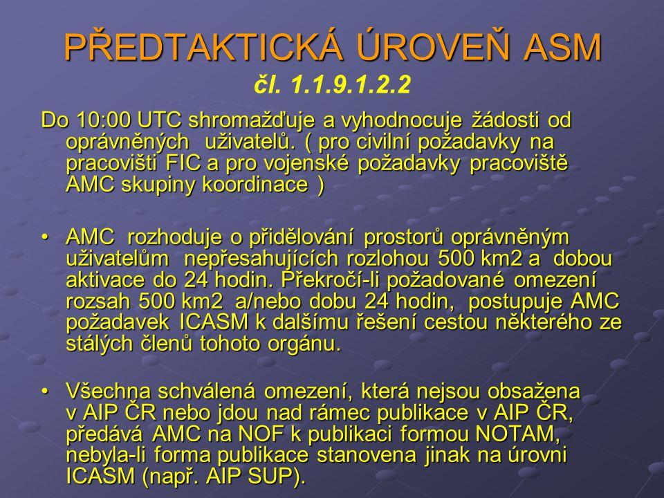 PŘEDTAKTICKÁ ÚROVEŇ ASM PŘEDTAKTICKÁ ÚROVEŇ ASM čl. 1.1.9.1.2.2 Do 10:00 UTC shromažďuje a vyhodnocuje žádosti od oprávněných uživatelů. ( pro civilní