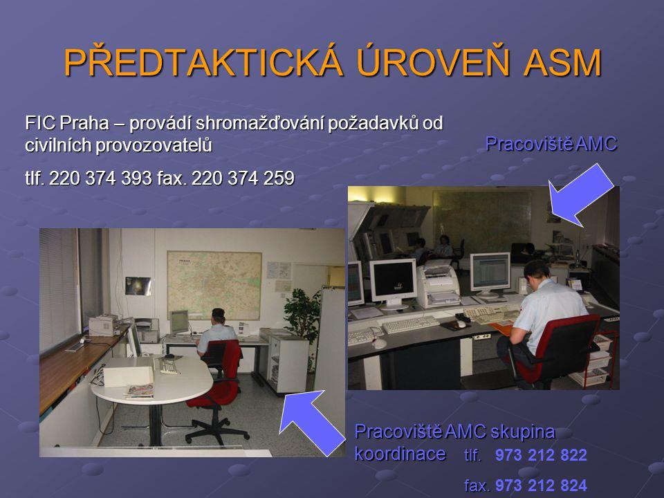 PŘEDTAKTICKÁ ÚROVEŇ ASM Pracoviště AMC skupina koordinace Pracoviště AMC tlf. tlf. 973 212 822 fax. fax. 973 212 824 FIC Praha – provádí shromažďování