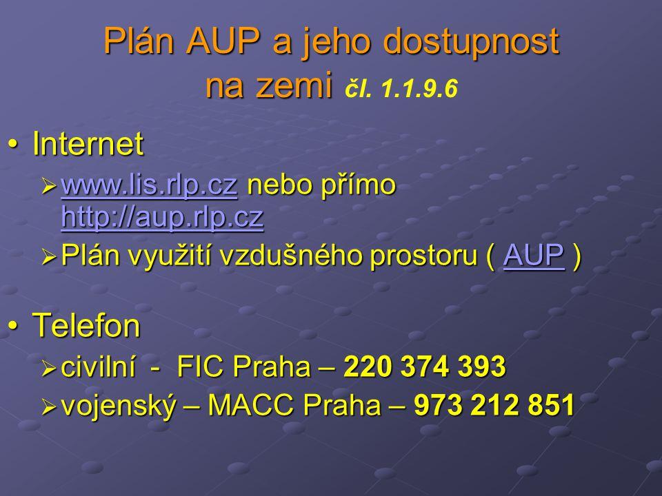 Plán AUP a jeho dostupnost na zemi Plán AUP a jeho dostupnost na zemi čl. 1.1.9.6 InternetInternet  www.lis.rlp.cz nebo přímo http://aup.rlp.cz www.l