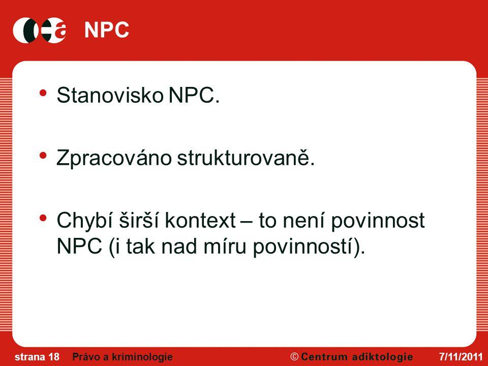 NPC Stanovisko NPC.Zpracováno strukturovaně.