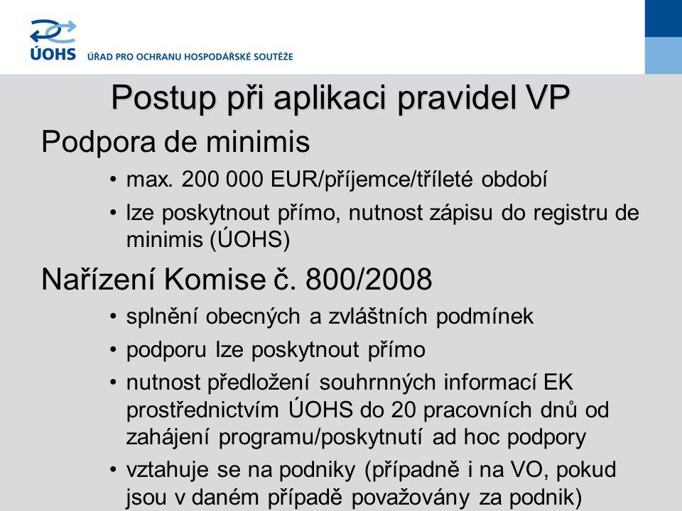 Postup při aplikaci pravidel VP Podpora de minimis max.
