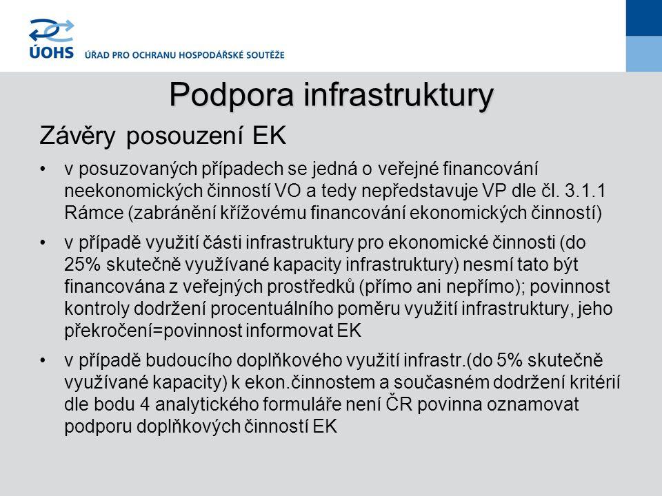 Podpora infrastruktury Závěry posouzení EK v posuzovaných případech se jedná o veřejné financování neekonomických činností VO a tedy nepředstavuje VP dle čl.