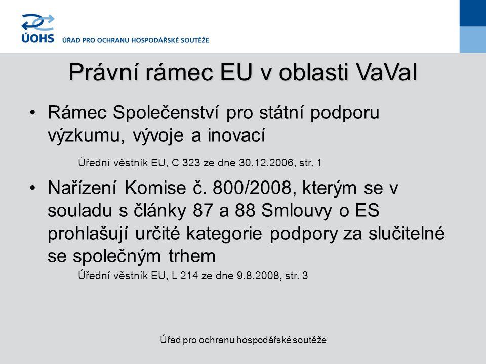 Právní rámec EU v oblasti VaVaI Rámec Společenství pro státní podporu výzkumu, vývoje a inovací Úřední věstník EU, C 323 ze dne 30.12.2006, str.