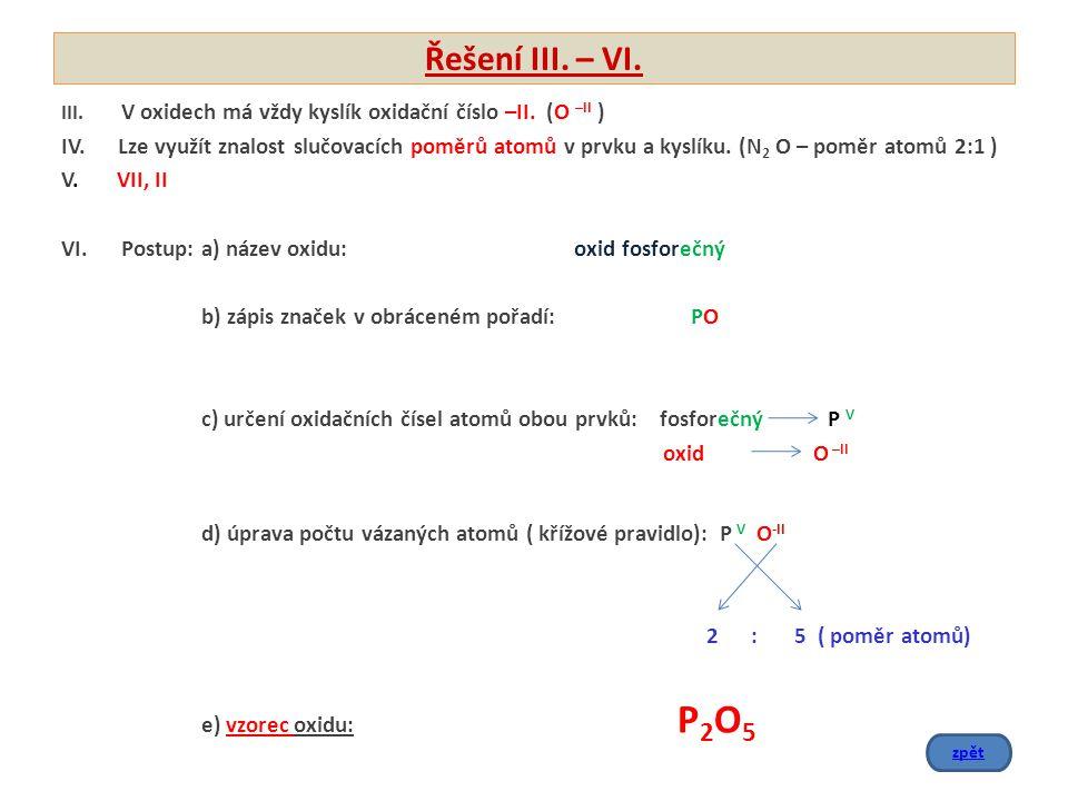 Řešení III. – VI. III. V oxidech má vždy kyslík oxidační číslo –II. (O –II ) IV. Lze využít znalost slučovacích poměrů atomů v prvku a kyslíku. (N 2 O
