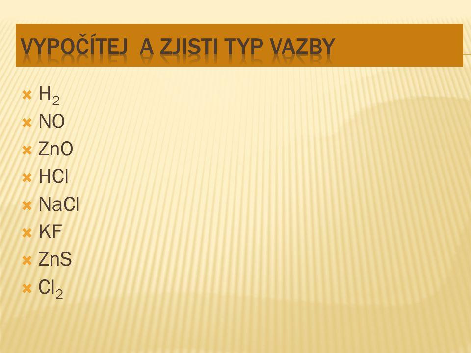  H 2  NO  ZnO  HCl  NaCl  KF  ZnS  Cl 2