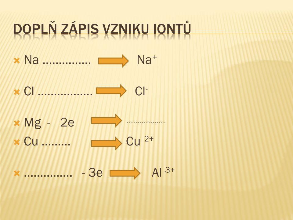  Na …………… Na +  Cl …………….. Cl -  Mg - 2e ………………  Cu ……… Cu 2+  …………… - 3e Al 3+