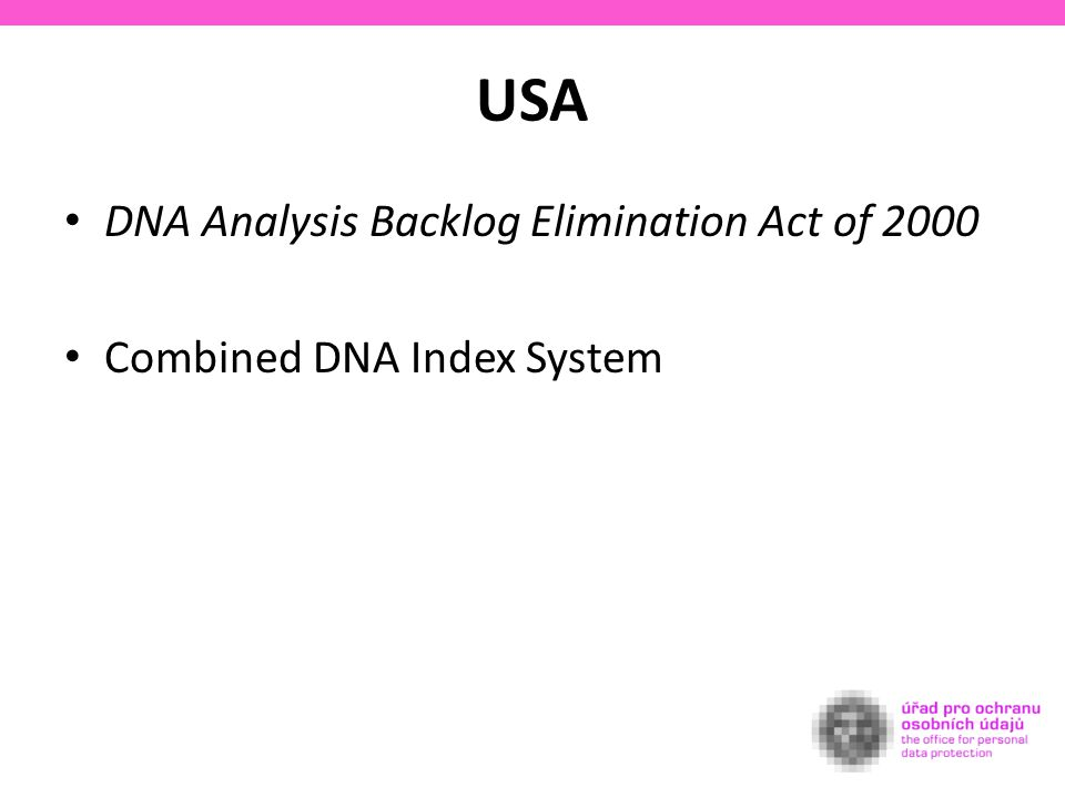 USA DNA Analysis Backlog Elimination Act of 2000 Combined DNA Index System
