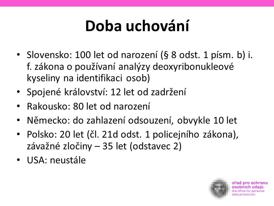 Doba uchování Slovensko: 100 let od narození (§ 8 odst.