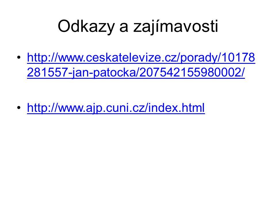 Odkazy a zajímavosti http://www.ceskatelevize.cz/porady/10178 281557-jan-patocka/207542155980002/http://www.ceskatelevize.cz/porady/10178 281557-jan-p