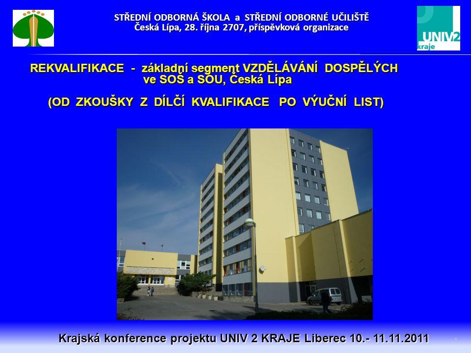STŘEDNÍ ODBORNÁ ŠKOLA a STŘEDNÍ ODBORNÉ UČILIŠTĚ Česká Lípa, 28. října 2707, příspěvková organizace 1 Krajská konference projektu UNIV 2 KRAJE Liberec