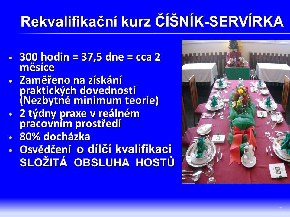 PRAKTICKÉ DOVEDNOSTI (KVALIFIKAČNÍ STANDARDY) DK složitá obsluha hostů  Sestavování jídelního lístku  Příprava a výzdoba tabulí  Nakládání s inventářem 8