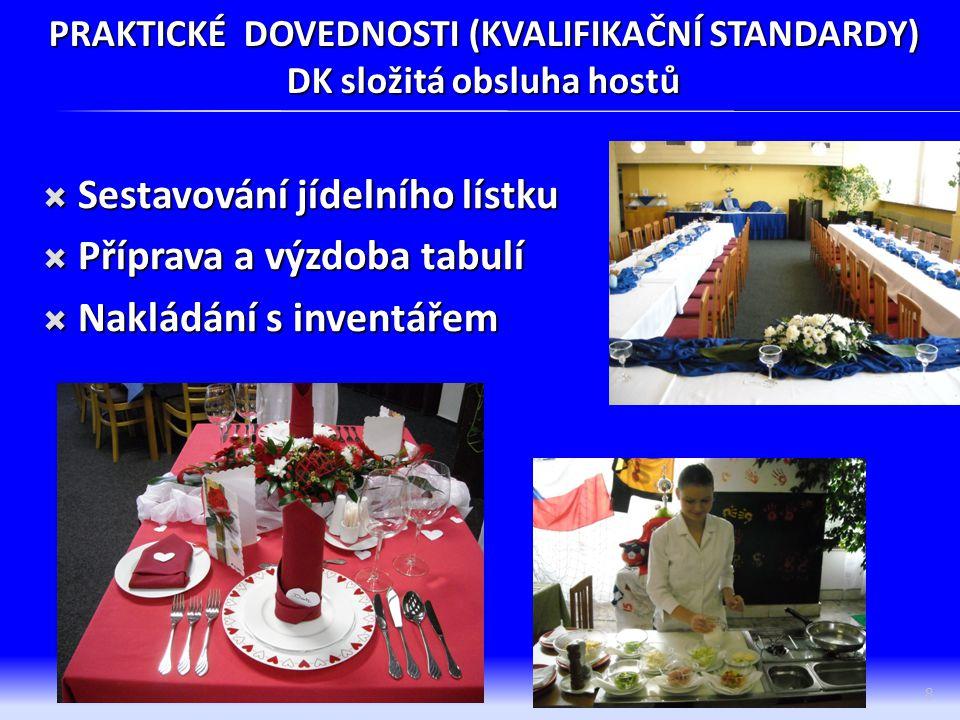 PRAKTICKÉ DOVEDNOSTI (KVALIFIKAČNÍ STANDARDY) DK složitá obsluha hostů  Sestavování jídelního lístku  Příprava a výzdoba tabulí  Nakládání s invent