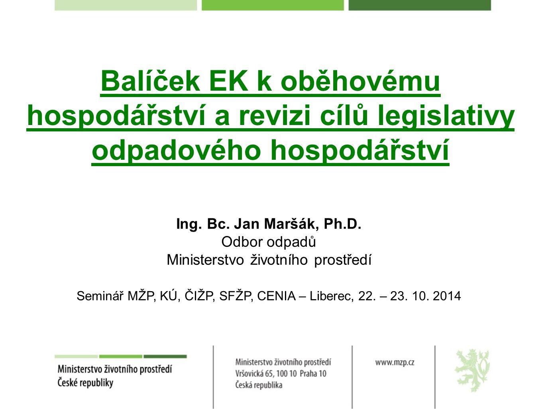 Obsah prezentace Balíček k oběhovému hospodářství Revize odpadové legislativy Stav projednávání