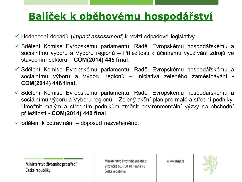 Odpadová legislativa Směrnice o odpadech Definice – komunální odpad, potravinový odpad, stavební a demoliční odpad, materiálové využití, zasypávání, malé zařízení nebo podnik.