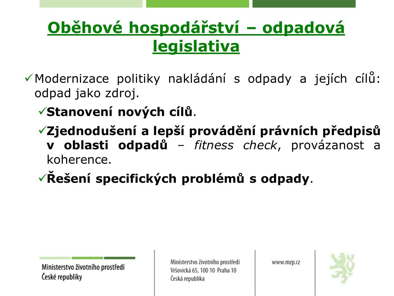 Odpadová legislativa Směrnice o obalech Cíle Do konce r.