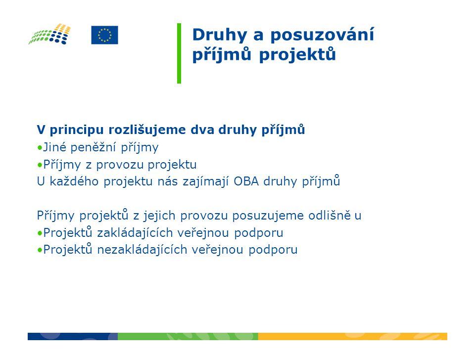 V principu rozlišujeme dva druhy příjmů Jiné peněžní příjmy Příjmy z provozu projektu U každého projektu nás zajímají OBA druhy příjmů Příjmy projektů z jejich provozu posuzujeme odlišně u Projektů zakládajících veřejnou podporu Projektů nezakládajících veřejnou podporu Druhy a posuzování příjmů projektů
