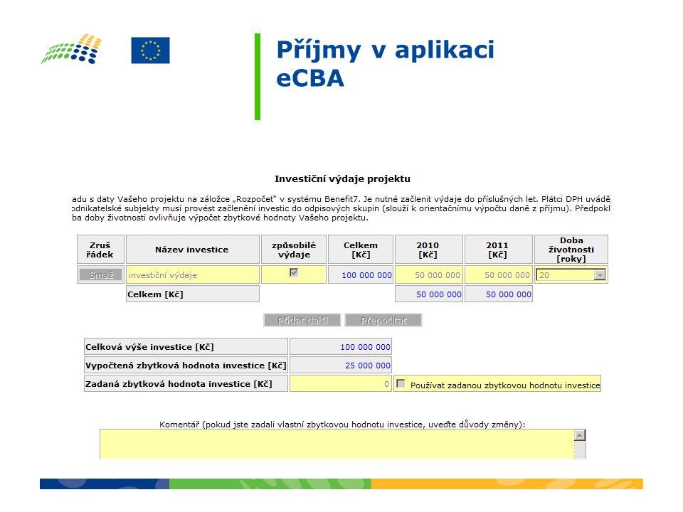 Příjmy v aplikaci eCBA