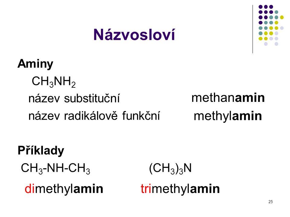 25 Názvosloví Aminy CH 3 NH 2 název substituční název radikálově funkční Příklady CH 3 -NH-CH 3 (CH 3 ) 3 N methanamin methylamin dimethylamintrimethy
