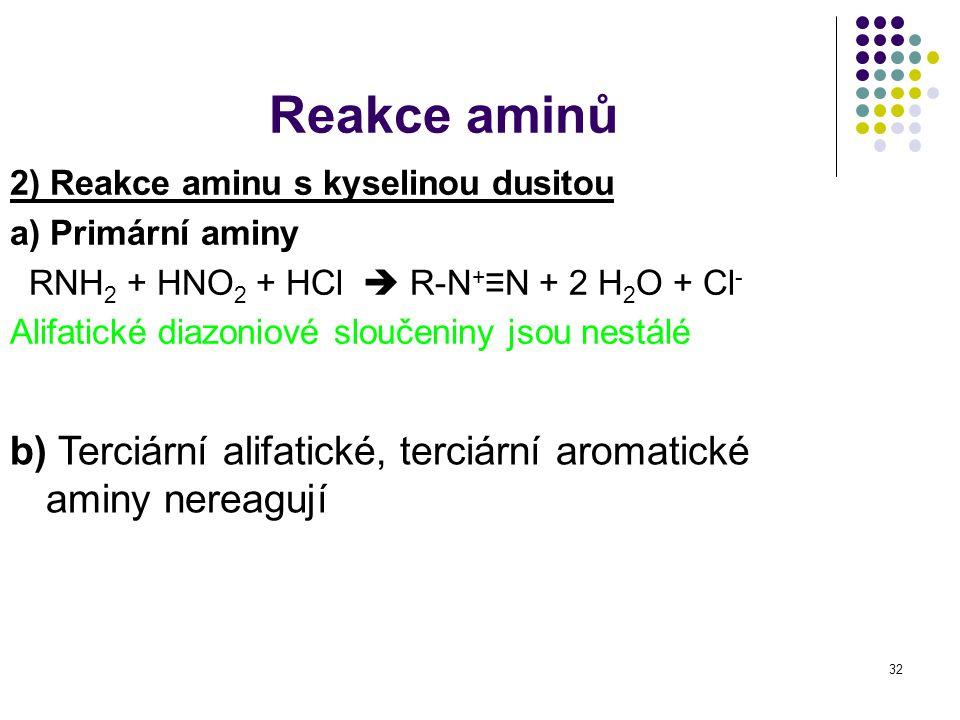 32 2) Reakce aminu s kyselinou dusitou a) Primární aminy RNH 2 + HNO 2 + HCl  R-N + ≡N + 2 H 2 O + Cl - Alifatické diazoniové sloučeniny jsou nestálé
