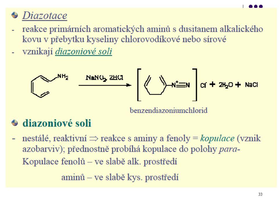 34 Kopulace Reakce diazoniové soli s aromatickým aminem nebo fenolem vznikají azobarviva Cl -  v mírně alkalickém prostředí p-hydroxyazobenzen