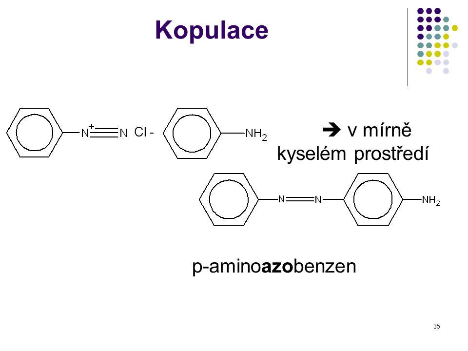 35 Kopulace Cl -  v mírně kyselém prostředí p-aminoazobenzen