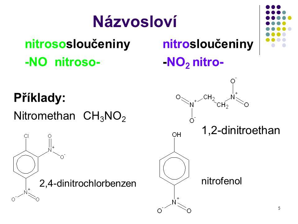 5 Názvosloví nitrososloučeniny nitrosloučeniny -NO nitroso--NO 2 nitro- Příklady: Nitromethan CH 3 NO 2 nitrofenol 2,4-dinitrochlorbenzen 1,2-dinitroe