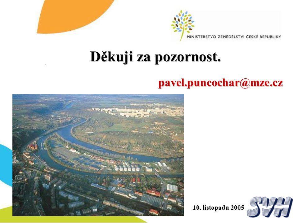 Děkuji za pozornost. pavel.puncochar@mze.cz 10. listopadu 2005