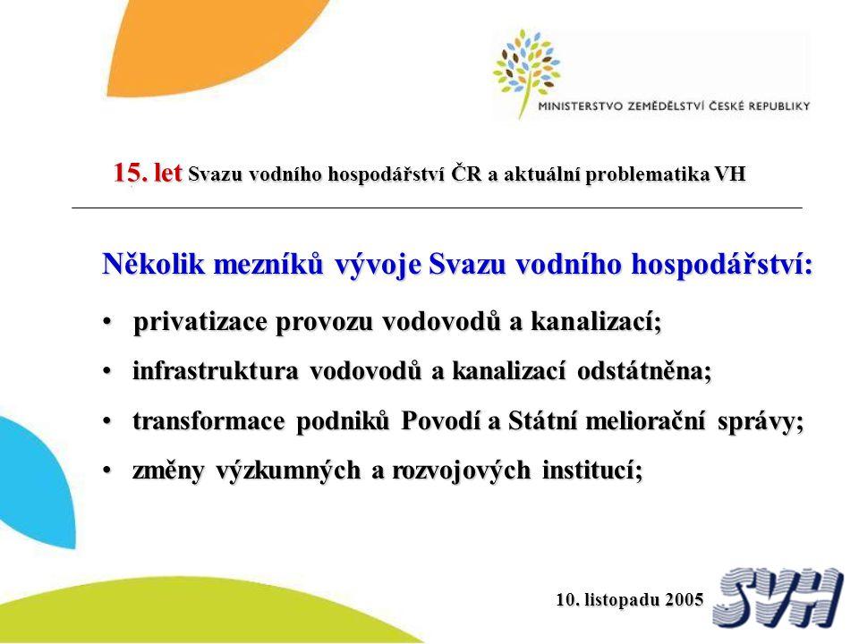 15. let Svazu vodního hospodářství ČR a aktuální problematika VH 10. listopadu 2005 Několik mezníků vývoje Svazu vodního hospodářství: privatizace pro