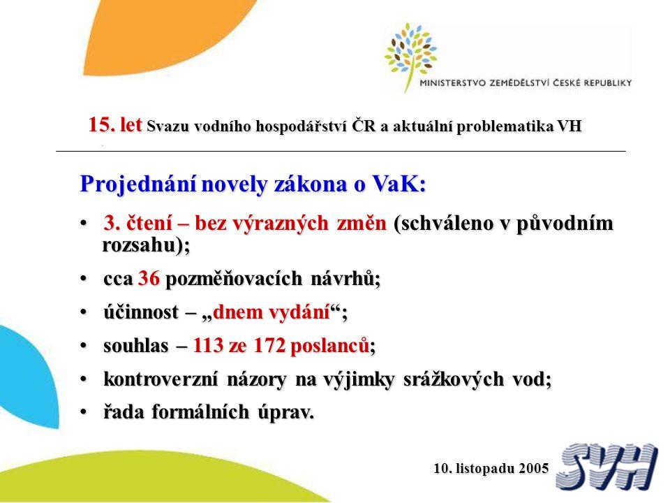 Projednání novely zákona o VaK: 3. čtení – bez výrazných změn (schváleno v původním rozsahu) ; 3. čtení – bez výrazných změn (schváleno v původním roz