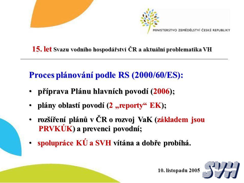 15. let Svazu vodního hospodářství ČR a aktuální problematika VH Proces plánování podle RS (2000/60/ES): příprava Plánu hlavních povodí (2006) ; přípr