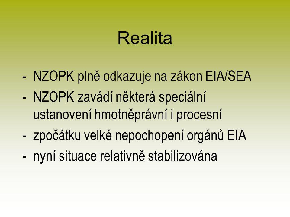 Realita -NZOPK plně odkazuje na zákon EIA/SEA -NZOPK zavádí některá speciální ustanovení hmotněprávní i procesní -zpočátku velké nepochopení orgánů EIA -nyní situace relativně stabilizována