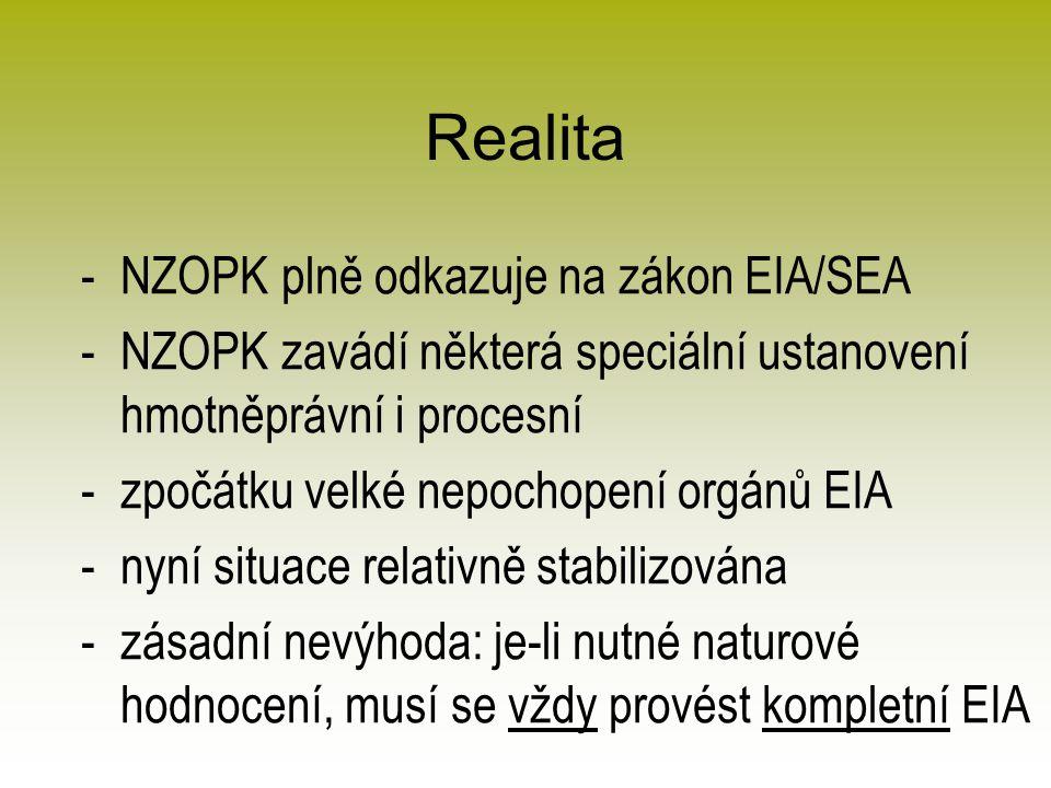 Realita -NZOPK plně odkazuje na zákon EIA/SEA -NZOPK zavádí některá speciální ustanovení hmotněprávní i procesní -zpočátku velké nepochopení orgánů EIA -nyní situace relativně stabilizována -zásadní nevýhoda: je-li nutné naturové hodnocení, musí se vždy provést kompletní EIA