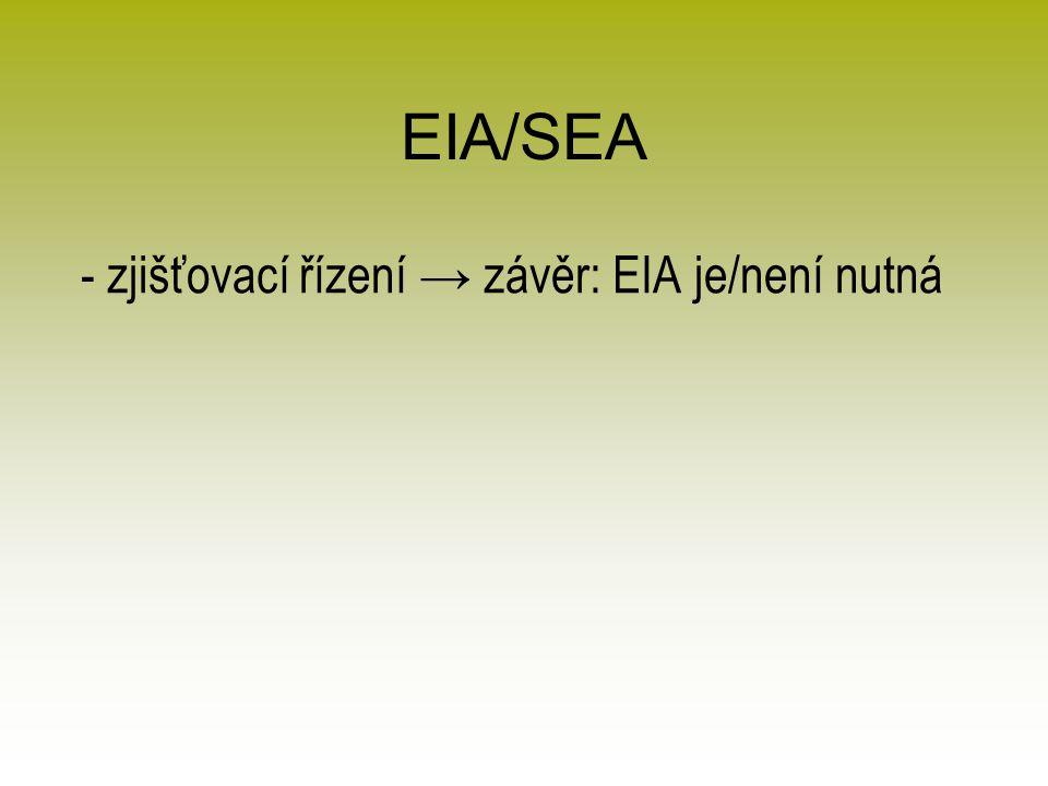 EIA/SEA - zjišťovací řízení → závěr: EIA je/není nutná