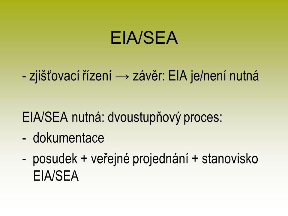 EIA/SEA - zjišťovací řízení → závěr: EIA je/není nutná EIA/SEA nutná: dvoustupňový proces: -dokumentace - posudek + veřejné projednání + stanovisko EIA/SEA
