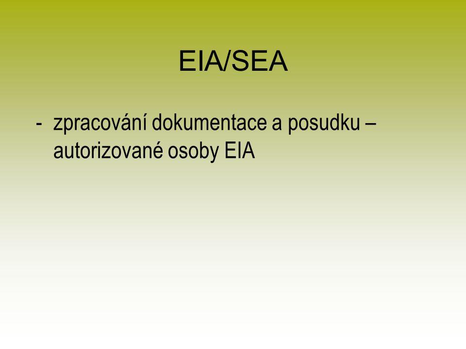 EIA/SEA -zpracování dokumentace a posudku – autorizované osoby EIA