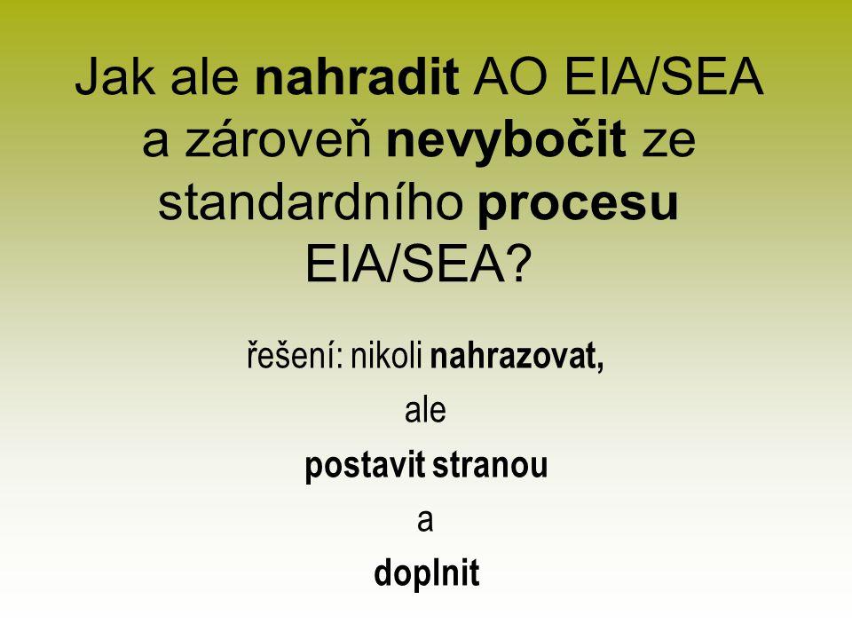 Jak ale nahradit AO EIA/SEA a zároveň nevybočit ze standardního procesu EIA/SEA.