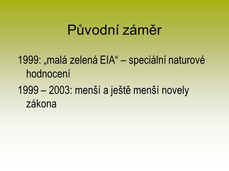 """Původní záměr 1999: """"malá zelená EIA – speciální naturové hodnocení 1999 – 2003: menší a ještě menší novely zákona"""