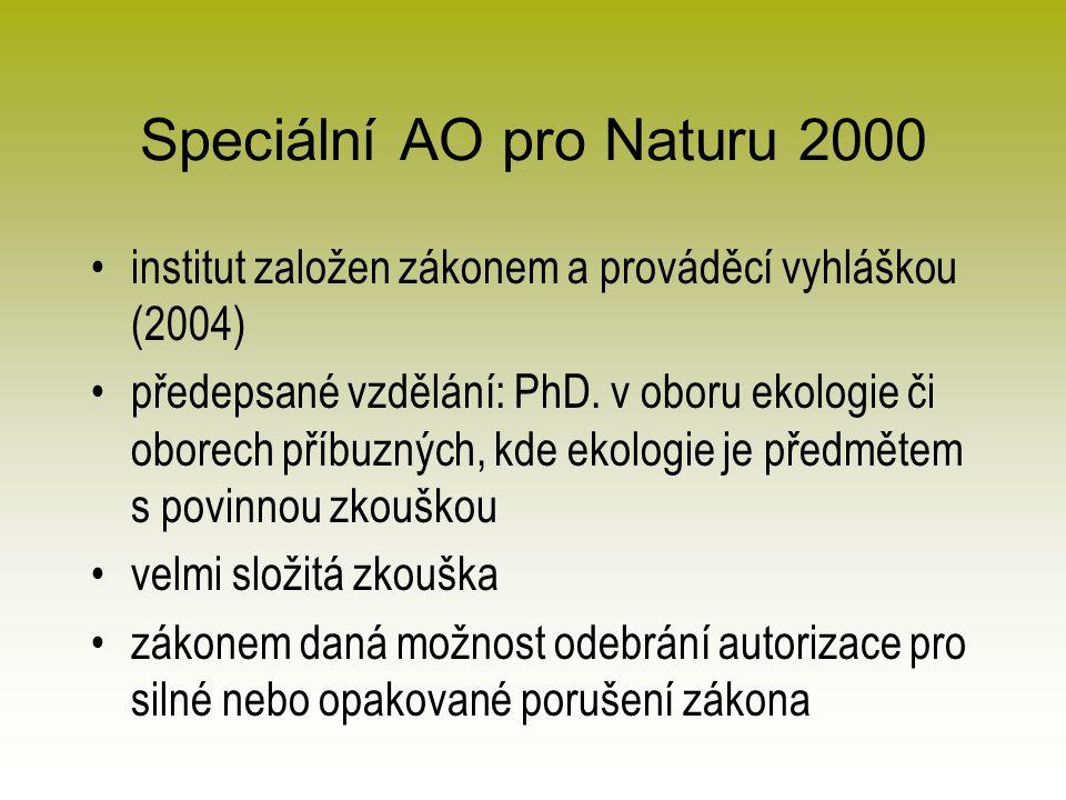 Speciální AO pro Naturu 2000 institut založen zákonem a prováděcí vyhláškou (2004) předepsané vzdělání: PhD.