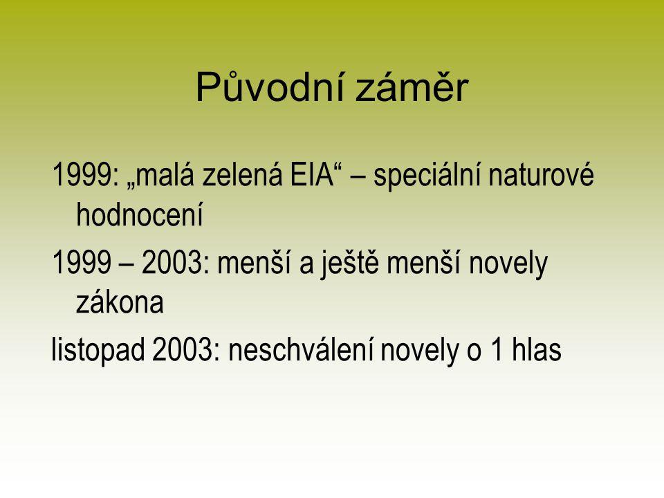 """Původní záměr 1999: """"malá zelená EIA – speciální naturové hodnocení 1999 – 2003: menší a ještě menší novely zákona listopad 2003: neschválení novely o 1 hlas"""
