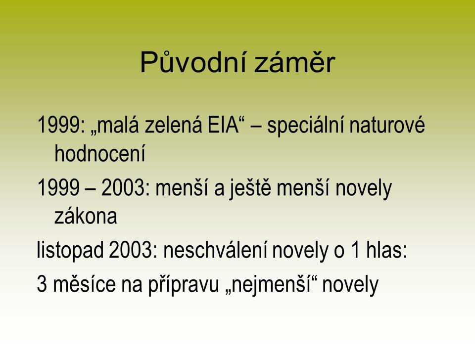 """Původní záměr 1999: """"malá zelená EIA – speciální naturové hodnocení 1999 – 2003: menší a ještě menší novely zákona listopad 2003: neschválení novely o 1 hlas: 3 měsíce na přípravu """"nejmenší novely"""