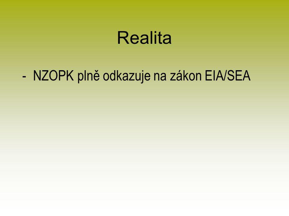 Realita -NZOPK plně odkazuje na zákon EIA/SEA
