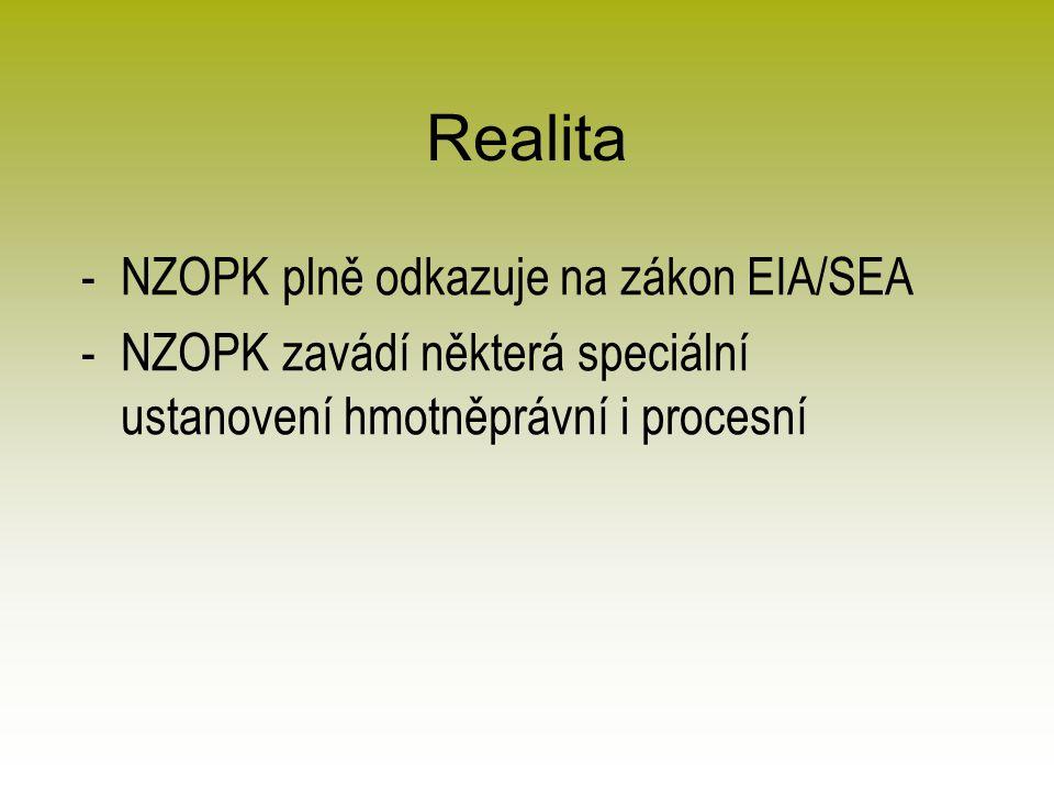 Realita -NZOPK plně odkazuje na zákon EIA/SEA -NZOPK zavádí některá speciální ustanovení hmotněprávní i procesní