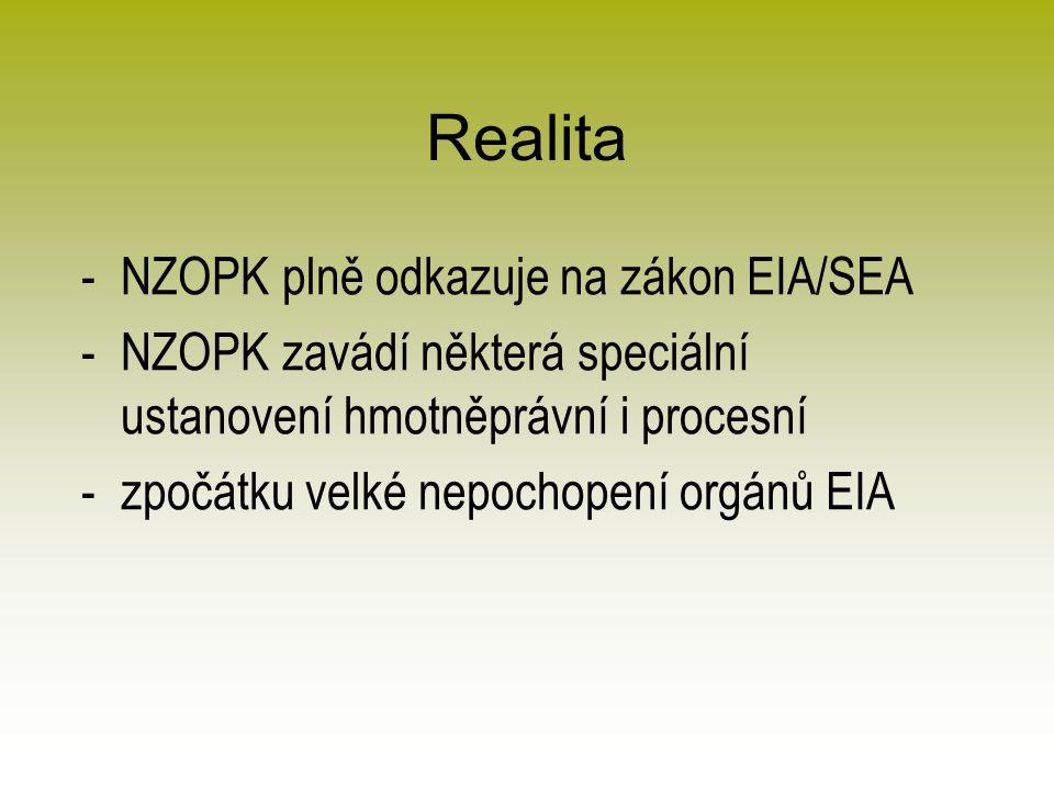 Realita -NZOPK plně odkazuje na zákon EIA/SEA -NZOPK zavádí některá speciální ustanovení hmotněprávní i procesní -zpočátku velké nepochopení orgánů EIA