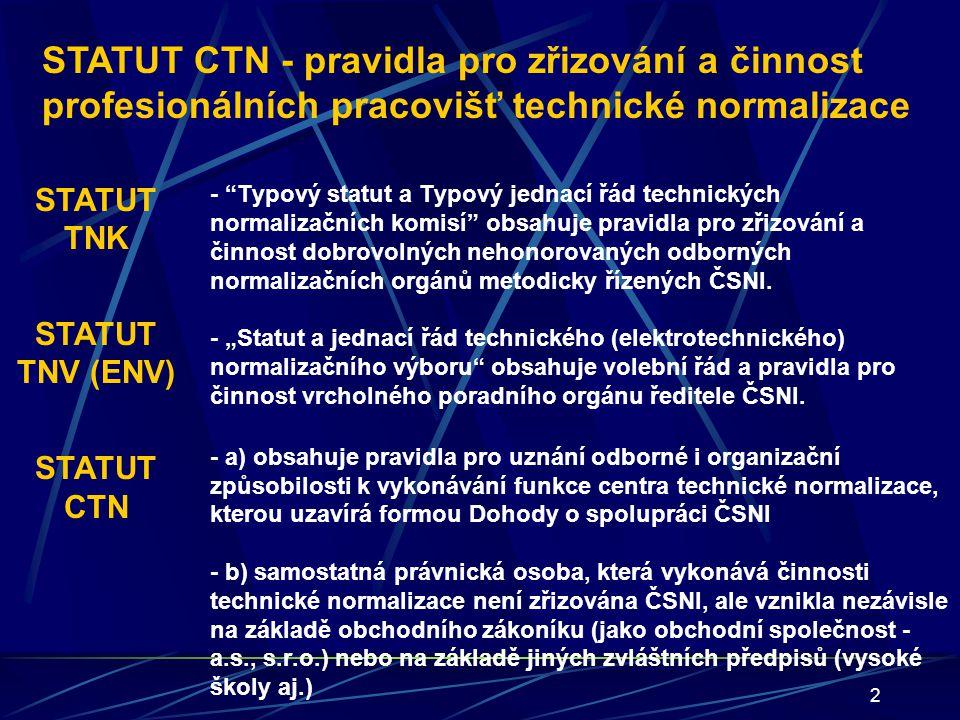 """13 HLAVA 1 ZÍSKÁNÍ STATUTU CTN Čl.1. Udělení statutu CTN (""""Zřízení : ČSNI + právnická osoba) Čl."""