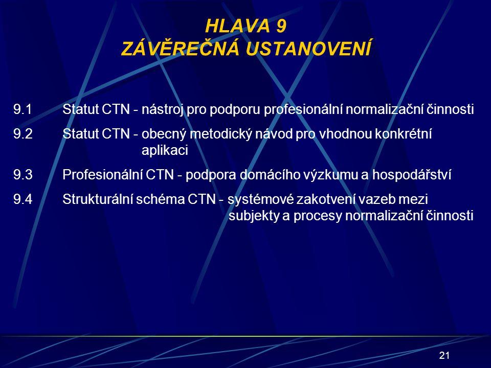 21 HLAVA 9 ZÁVĚREČNÁ USTANOVENÍ 9.1Statut CTN - nástroj pro podporu profesionální normalizační činnosti 9.2Statut CTN - obecný metodický návod pro vho