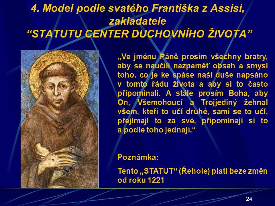 """24 4. Model podle svatého Františka z Assisi, zakladatele """"STATUTU CENTER DUCHOVNÍHO ŽIVOTA"""" """"Ve jménu Páně prosím všechny bratry, aby se naučili nazp"""
