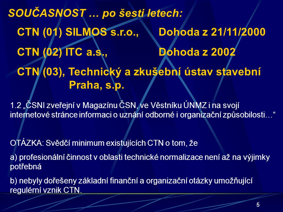 5 SOUČASNOST … po šesti letech: CTN (01) SILMOS s.r.o.,Dohoda z 21/11/2000 CTN (02) ITC a.s., Dohoda z 2002 CTN (03), Technický a zkušební ústav stave