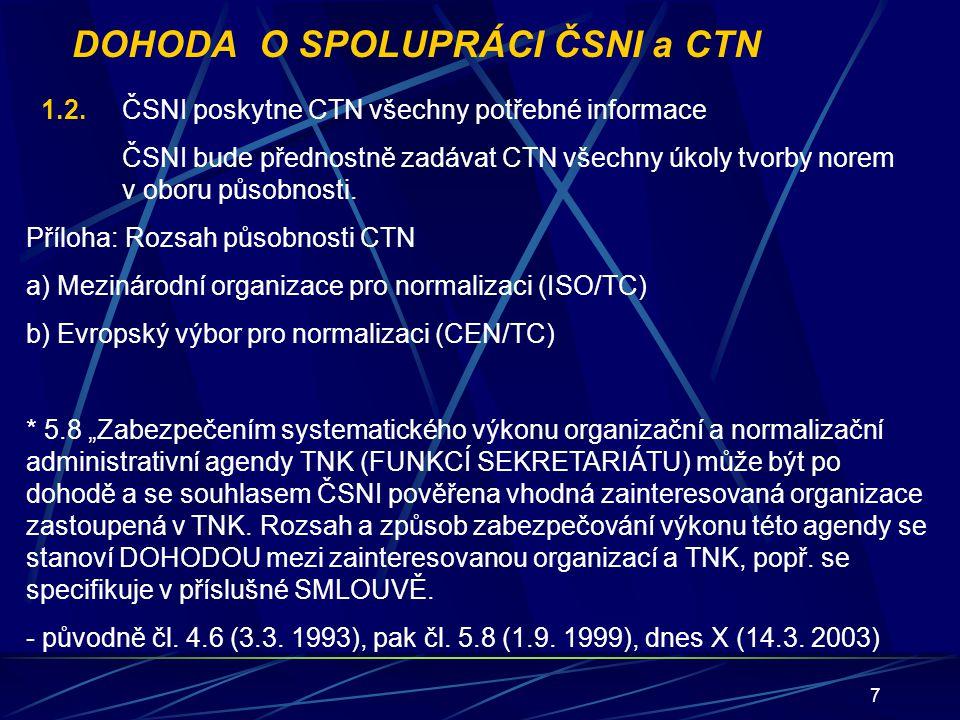 18 HLAVA 6 VÝKON ČINNOSTI CTN VE SPOLUPRÁCI S VÝZKUMEM 6.1Standardizace inovací, výsledků výzkumu 6.2Rešerše norem 6.3Specializované informační služby 6.4Přednormativní výzkum (příprava na zpracování norem) 6.5Normativní výzkum (ověření a zavádění nových norem) 6.6Prosazování novinek do norem