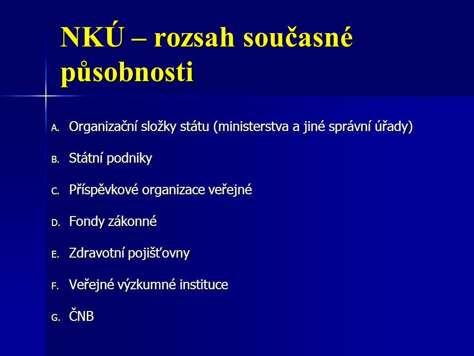 NKÚ – rozsah současné působnosti A. Organizační složky státu (ministerstva a jiné správní úřady) B. Státní podniky C. Příspěvkové organizace veřejné D
